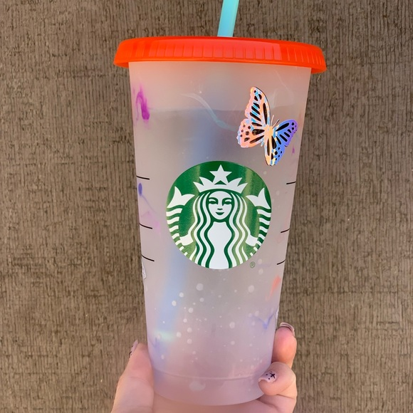 Custom Starbucks swirl color changing cup